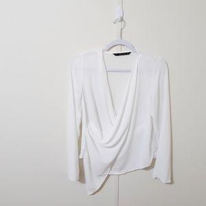 Zara Basic white sheer asymmetrical front blouse